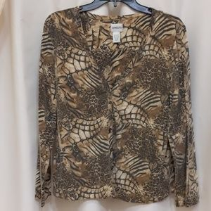 Brown animal pattern cardigan